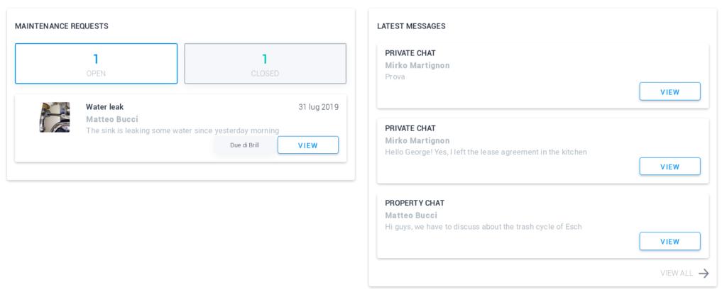 Chat e richieste di manutenzione su RoomMate Estelle